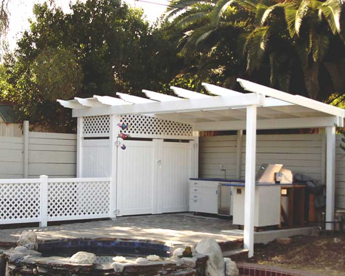 Patio Cover with Lattice Shed