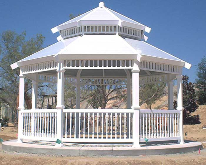 Vinyl Gazebo with Solid Top